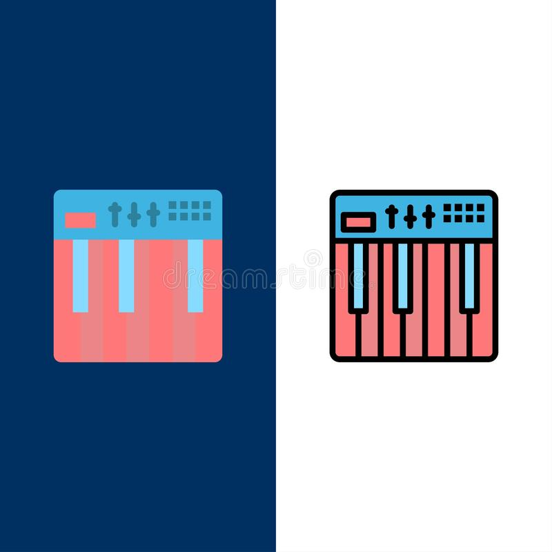 控制器,硬件,键盘,密地,音乐象 舱内甲板和线被填装的象设置了传染媒介蓝色背景 库存例证