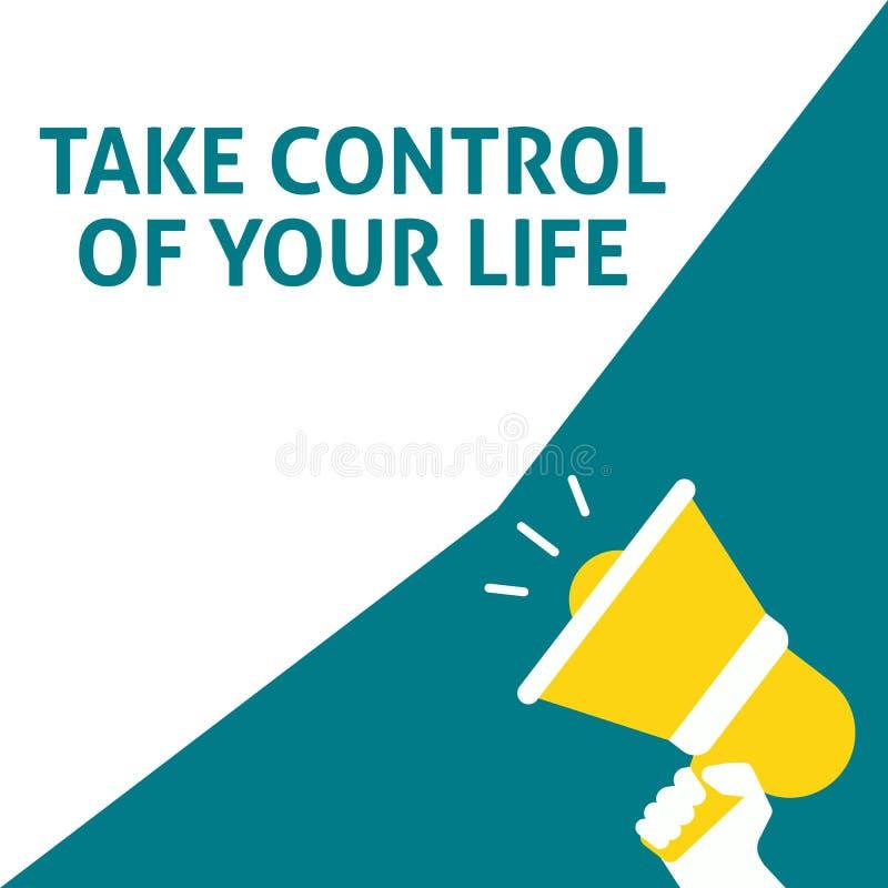控制您的生活公告 拿着有讲话泡影的手扩音机 库存例证