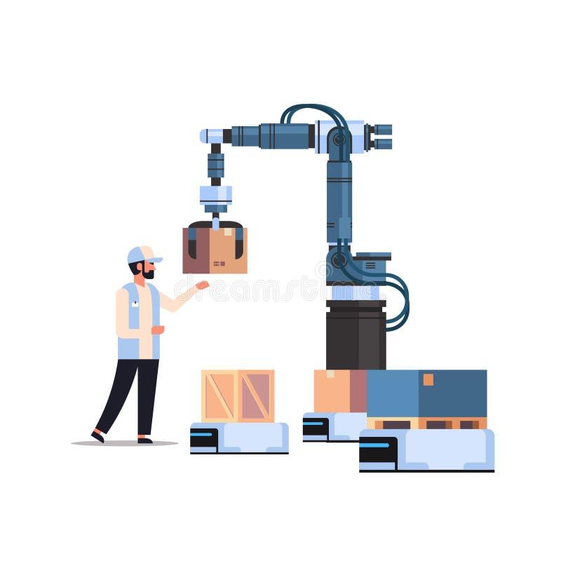 控制机器人手的人工程师把箱子放在机器人产品上提供工厂自动化生产概念 库存例证