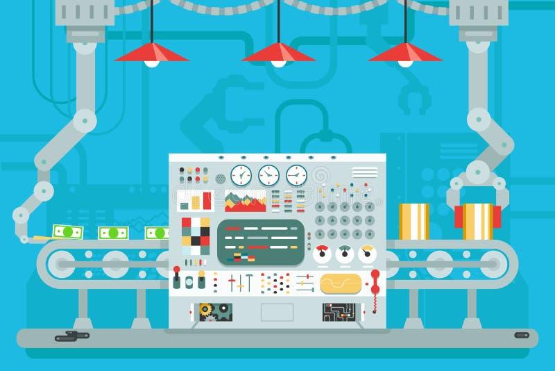 控制板传动机机器人操作器生产发展平的设计观念例证 库存例证