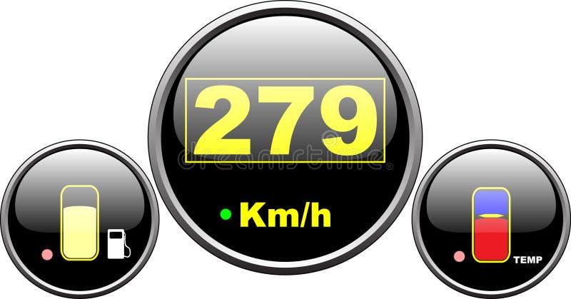 控制板车速表 向量例证