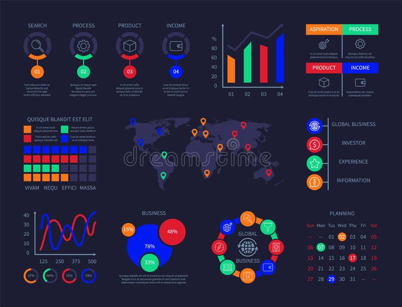控制板infographic图分析技术hud交互式信息图数据用户界面用图解法表示图表 库存例证
