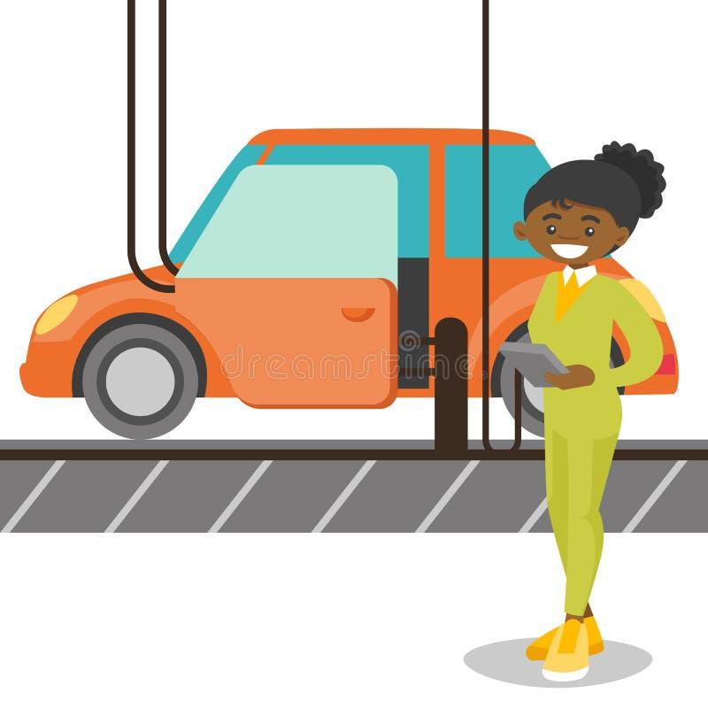 控制汽车的工作者自动化的装配线 库存例证