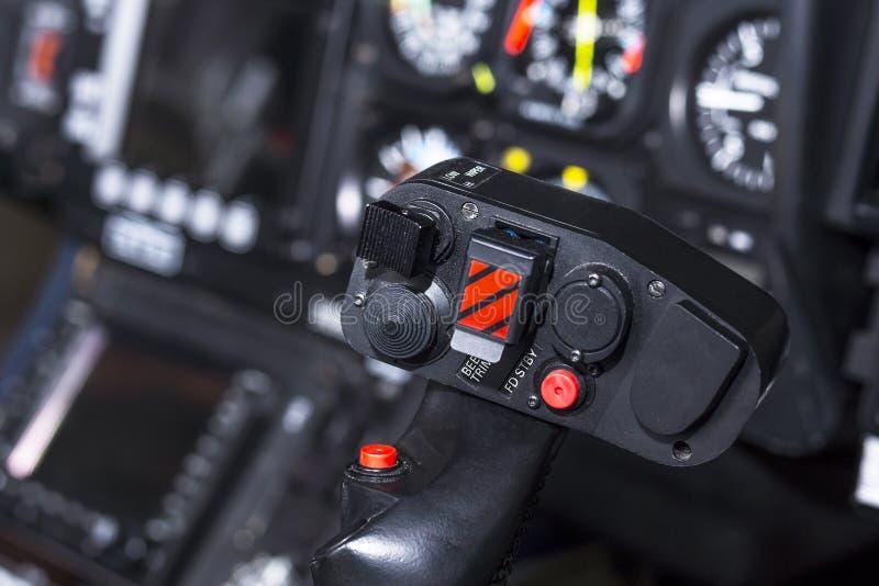 控制直升机的控制杆 库存照片