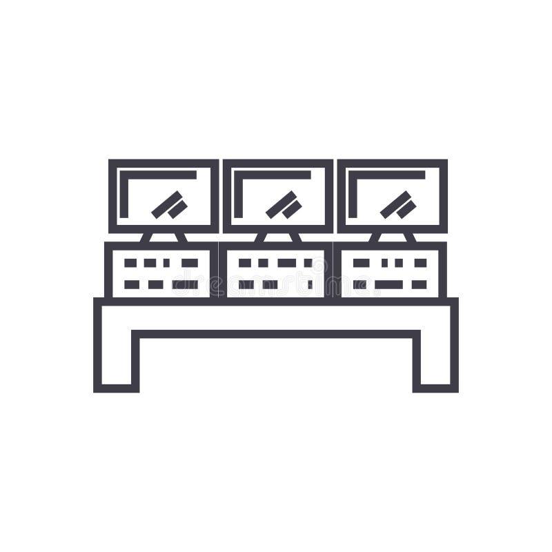 控制系统传染媒介线象,标志,在背景,编辑可能的冲程的例证 向量例证