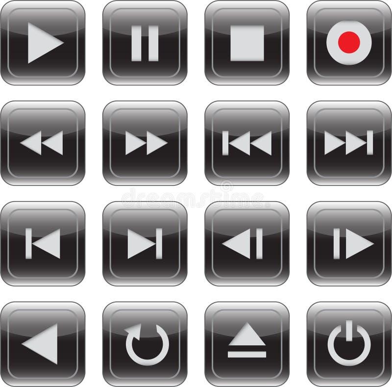 控制被设置的光滑的图标多媒体 向量例证