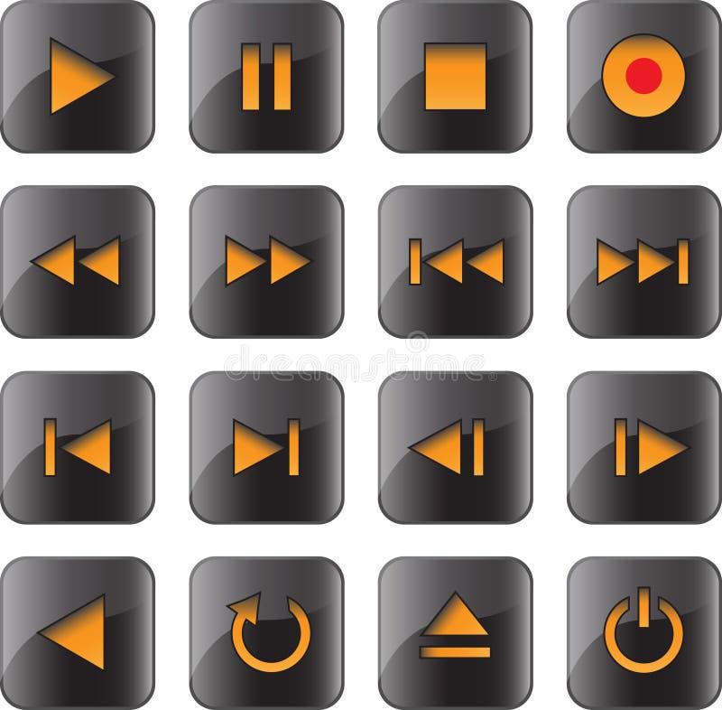 控制被设置的光滑的图标多媒体 库存例证