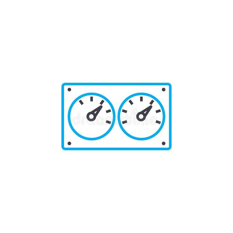 控制设备线性象概念 控制设备排行传染媒介标志,标志,例证 库存例证