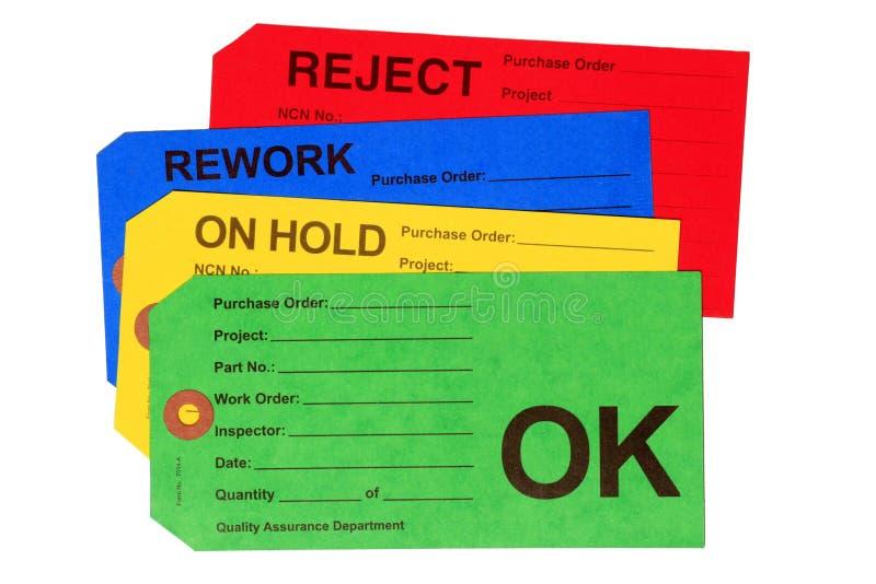 控制质量集合标签 免版税库存图片
