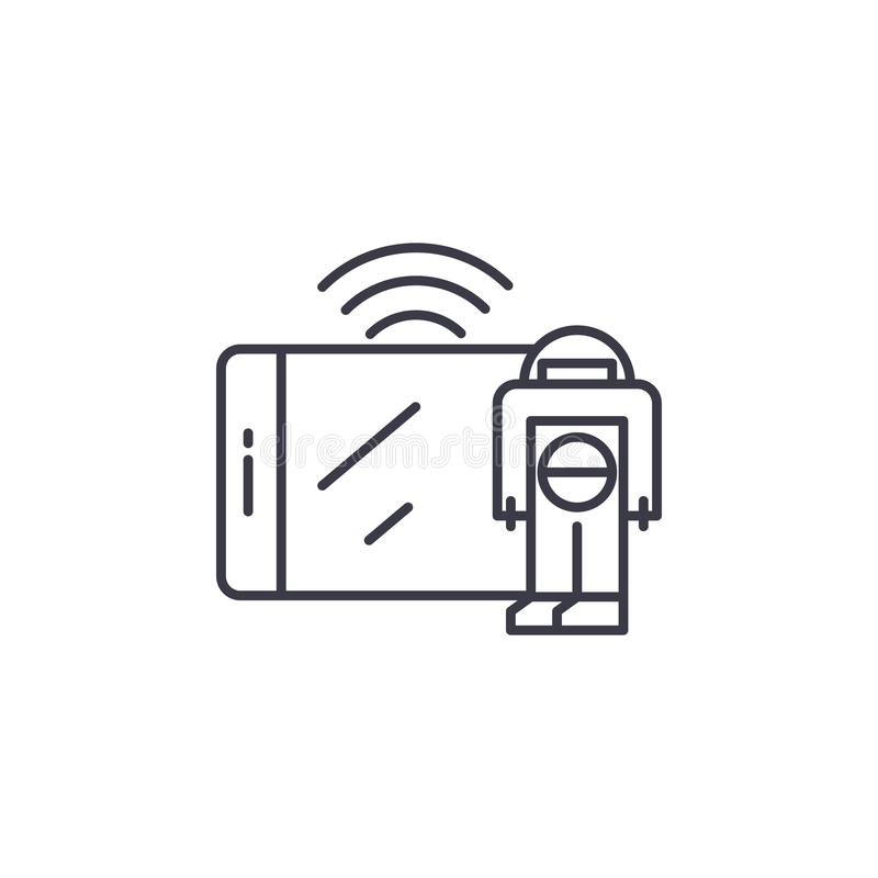 控制通过移动设备线性象概念 控制通过移动设备排行传染媒介标志,标志,例证 向量例证