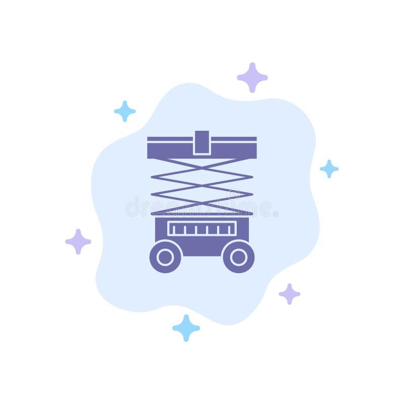 推力,铲车,仓库,起重器,在抽象云彩背景的蓝色象 库存例证