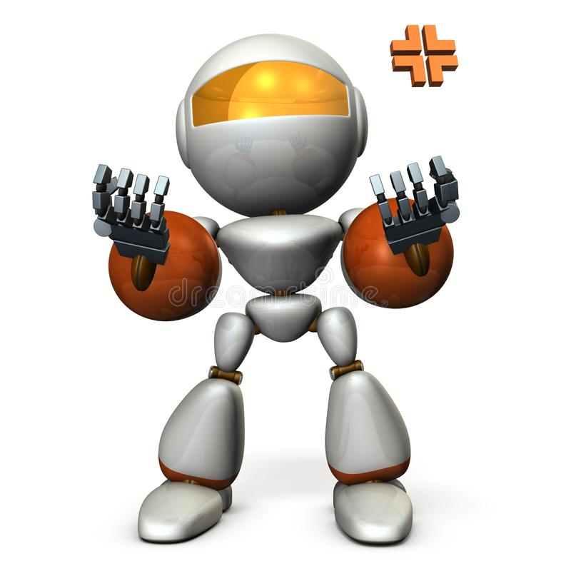 推动上两只手并且恢复的机器人 他是激动的 向量例证