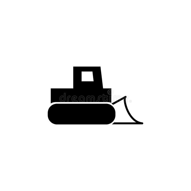 推土机,有桶象的拖拉机 建筑的元素用工具加工象 优质质量图形设计 标志,概述标志c 向量例证