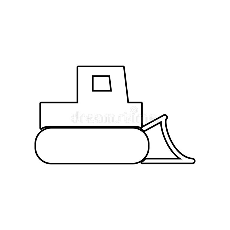 推土机,有桶象的拖拉机 Constraction工具的元素为流动概念和网应用程序象的 概述,稀薄的线象 向量例证