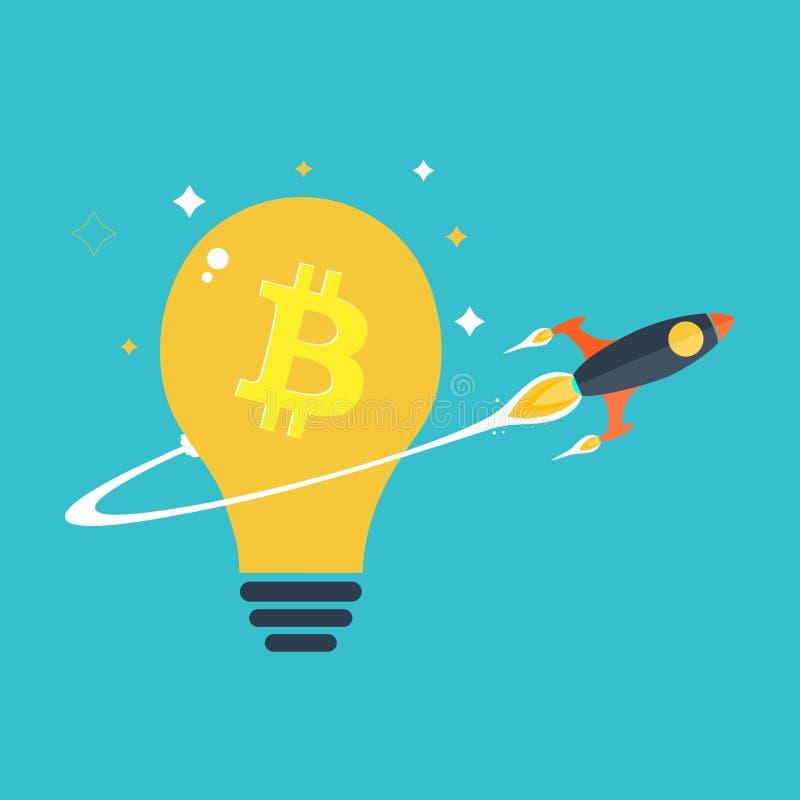 推在bitcoin电灯泡的平的火箭 库存照片