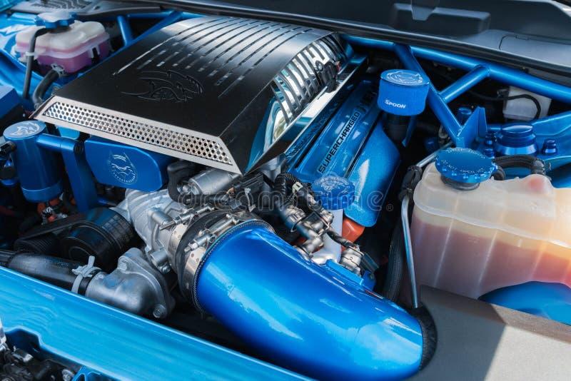 推托充电器SRT在显示的悍妇引擎 库存照片