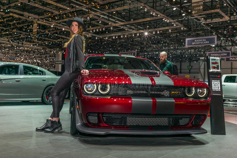 推托SRT被提出在日内瓦国际汽车展示会 库存图片