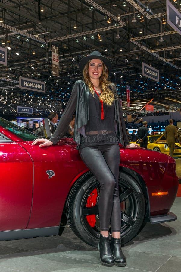 推托SRT被提出在日内瓦国际汽车展示会 免版税库存图片