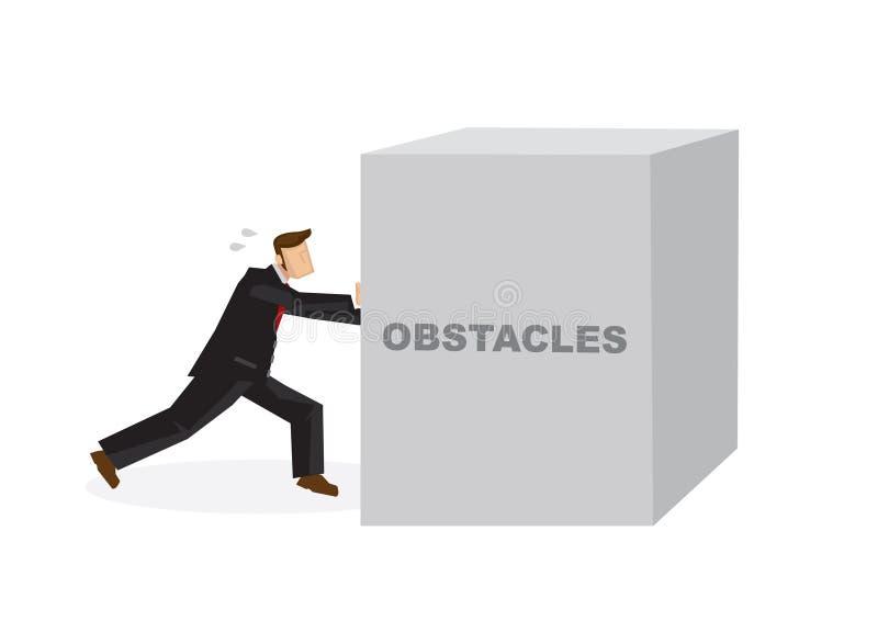 推挤一个巨大的障碍的商人 克服障碍和chal 库存例证