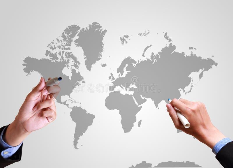 推挤全世界战略的手 库存例证