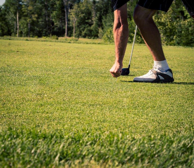 推挤在发球区域的高尔夫球运动员 库存照片