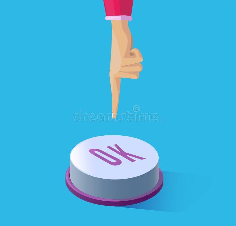 推挤在按钮OK的手指 免版税库存照片