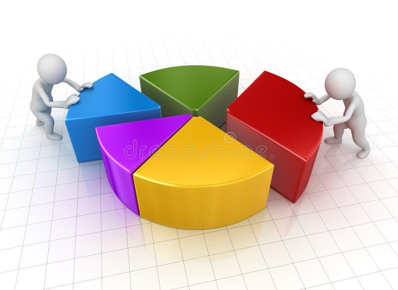 推挤对圆形统计图表片断的商人 向量例证