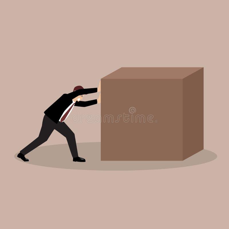 推挤巨大的立方体的商人 库存例证