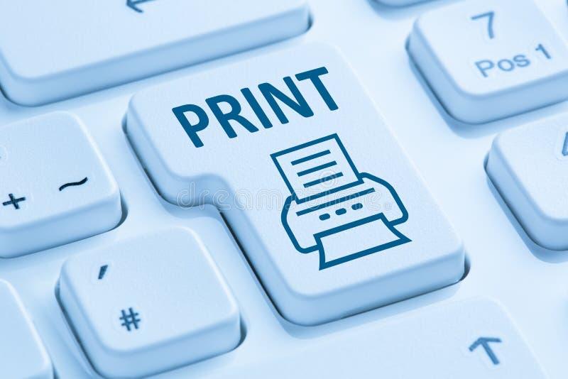 推挤打印键打印打印机蓝色键盘 库存图片