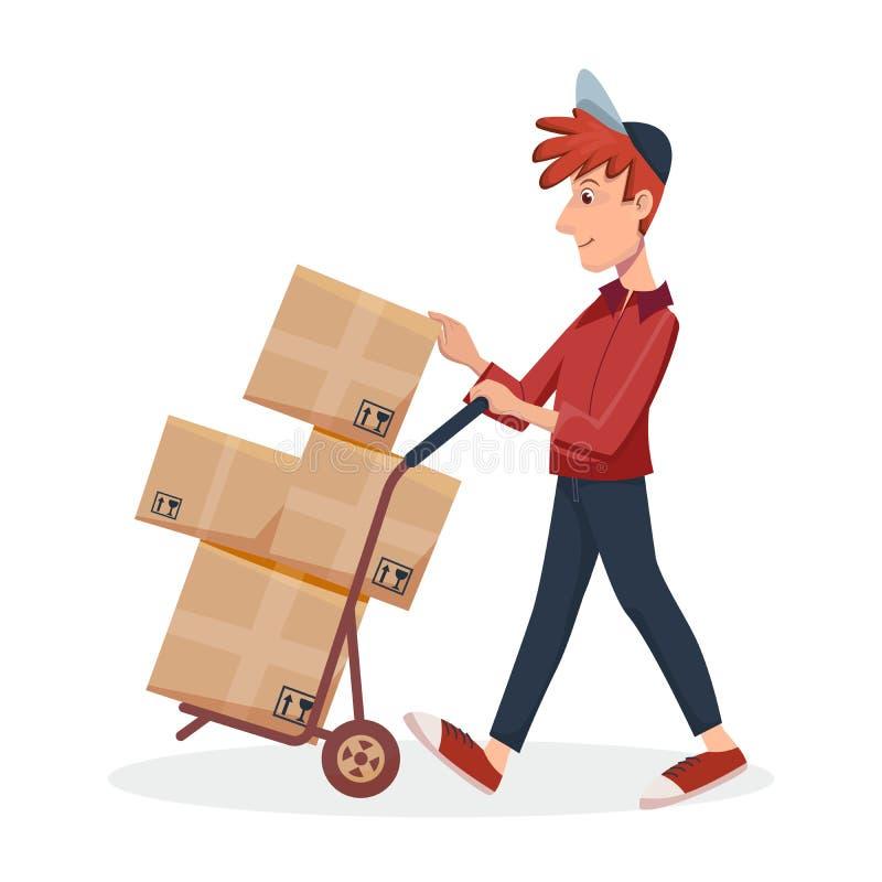 推挤有纸板箱的送货员台车 由传讯者的快速的送货服务 传染媒介卡通人物 皇族释放例证