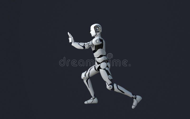 推挤某事的白色机器人技术 技术在将来,在黑背景 库存例证