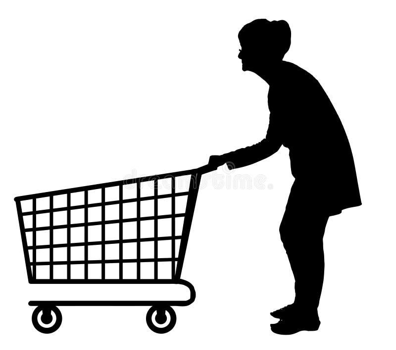 推挤空的购物台车的年长妇女剪影 皇族释放例证