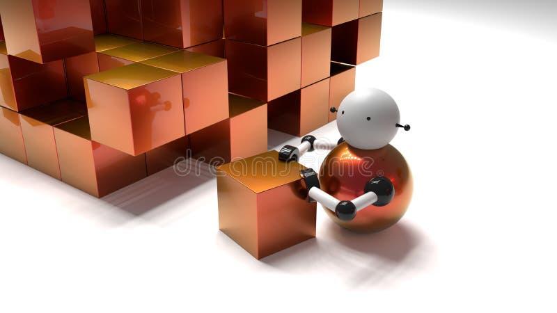推挤立方体的一点机器人入堆箱子 皇族释放例证