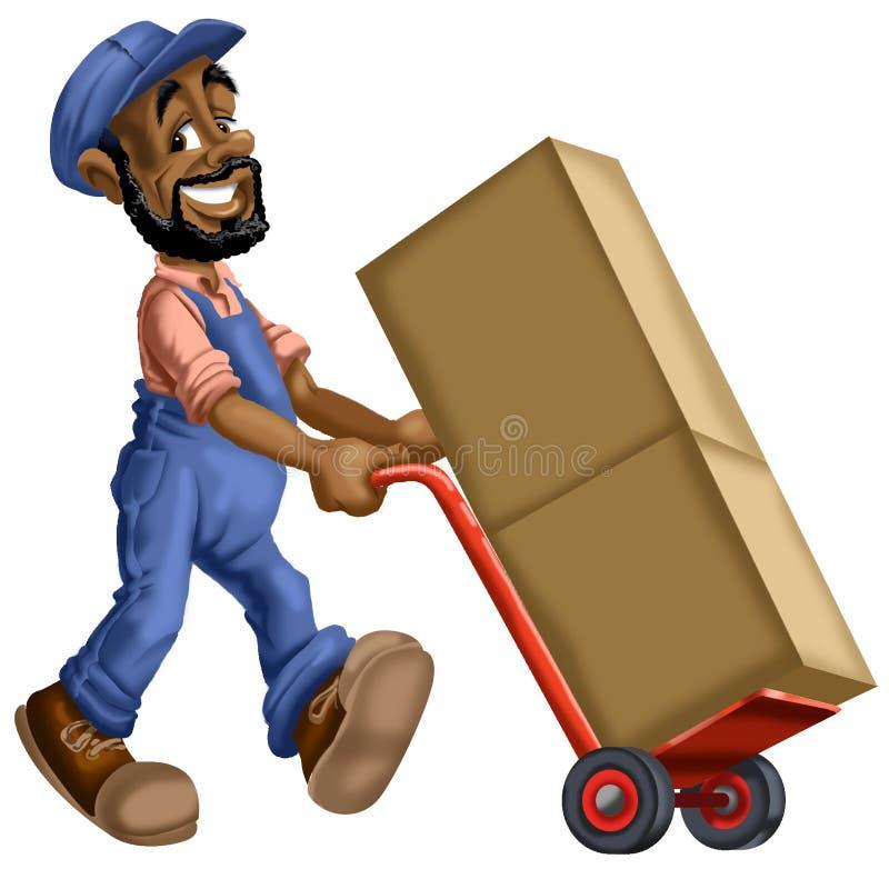 推挤箱子的搬家工人动画片 库存例证