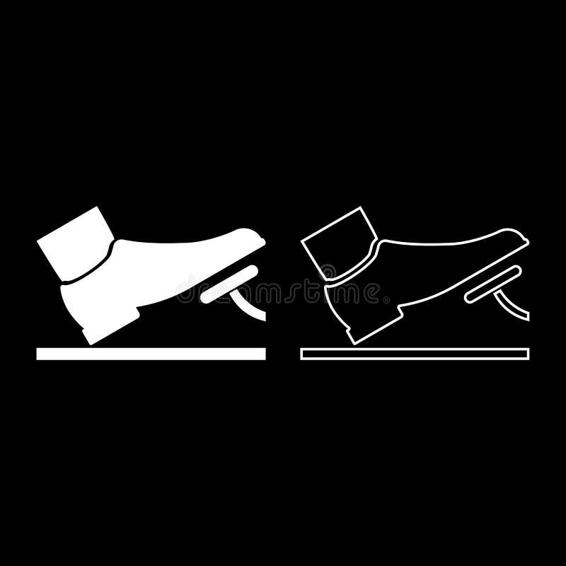 推挤脚蹬油门刹车踏板自动服务概念象集合白色例证平的样式简单的图象的脚 皇族释放例证