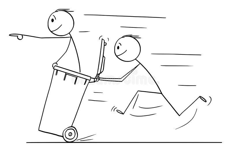推挤自行车前轮离地平衡特技容器的人或商人传染媒介动画片另一个人 库存例证