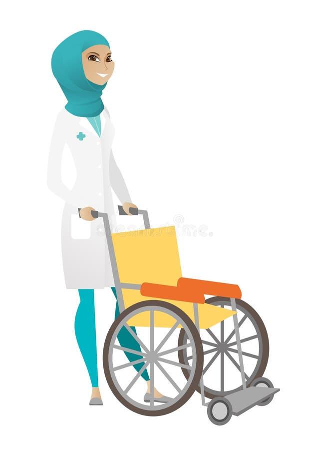 推挤轮椅的回教女性医生隔绝在白色背景 库存例证