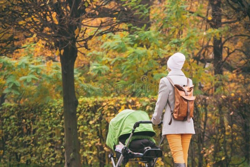 推挤婴儿推车的年轻母亲在秋天公园 免版税库存图片