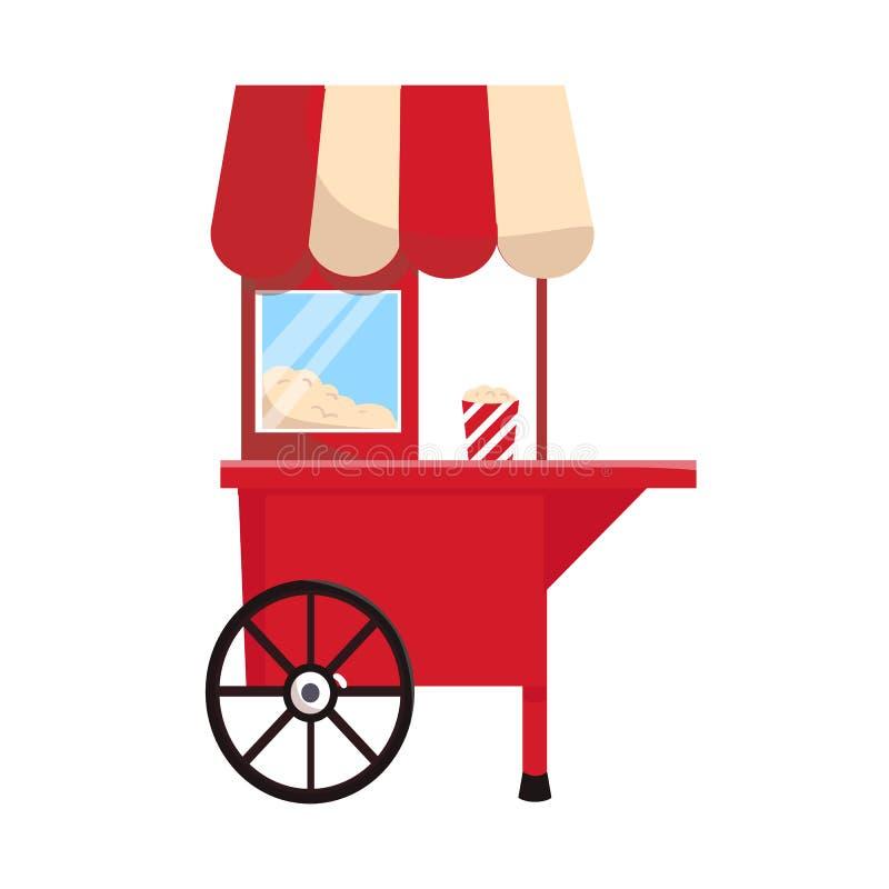 推车和玉米花商标被隔绝的对象  推车和机器股票传染媒介例证的汇集 库存例证