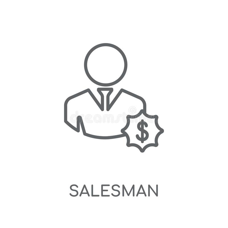 推销员线性象 在wh的现代概述推销员商标概念 向量例证