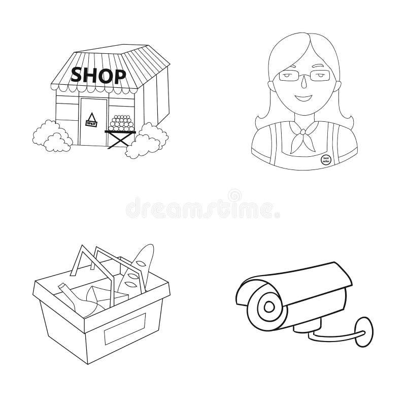 推销员,妇女,篮子,塑料 在概述样式的超级市场集合汇集象导航标志储蓄例证网 库存例证