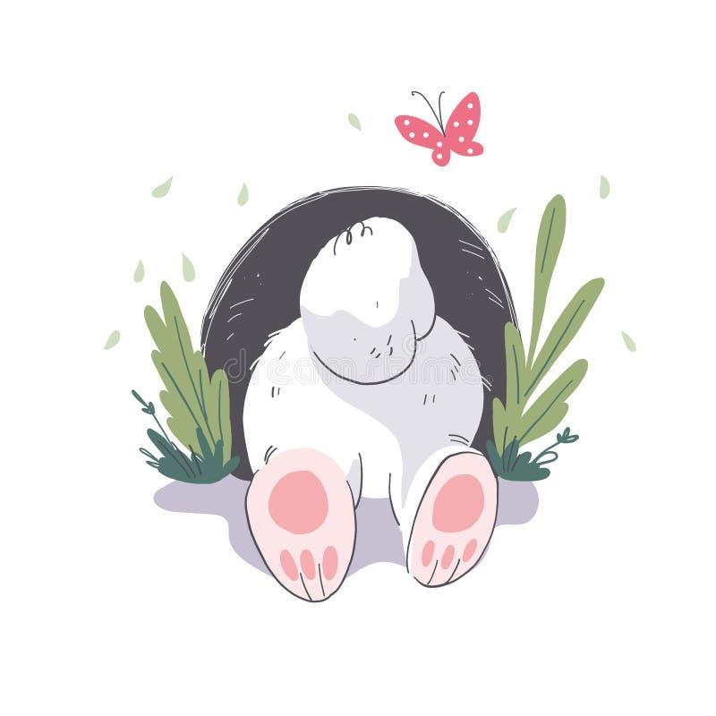 掩藏在孔的逗人喜爱的矮小的白色婴孩兔宝宝字符的传染媒介平的例证 向量例证