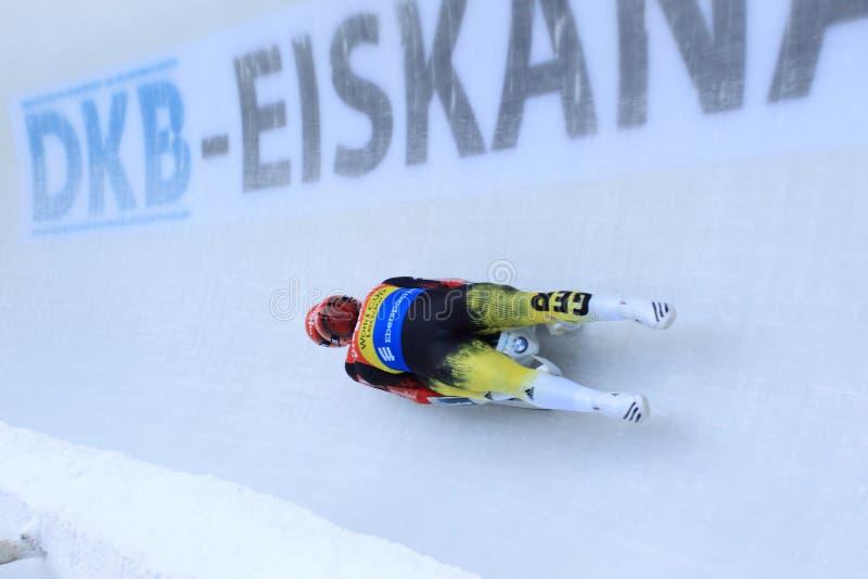 措尼Eggert和萨沙Benecken -无舵雪橇 免版税库存照片