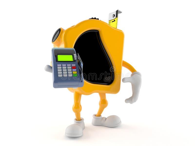 措施拿着信用卡读者的磁带字符 向量例证