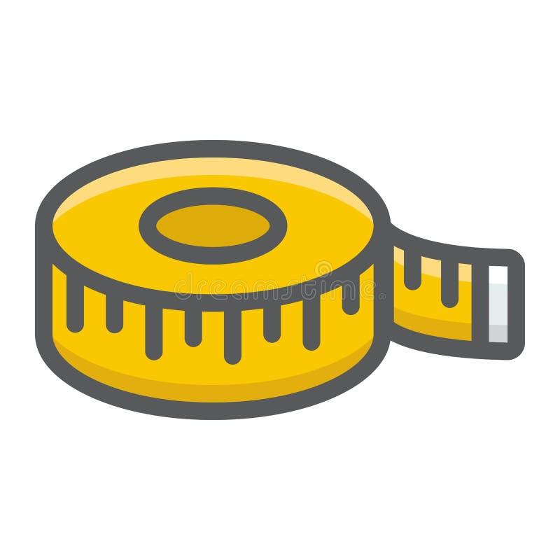 措施磁带被填装的概述象,厘米 库存例证