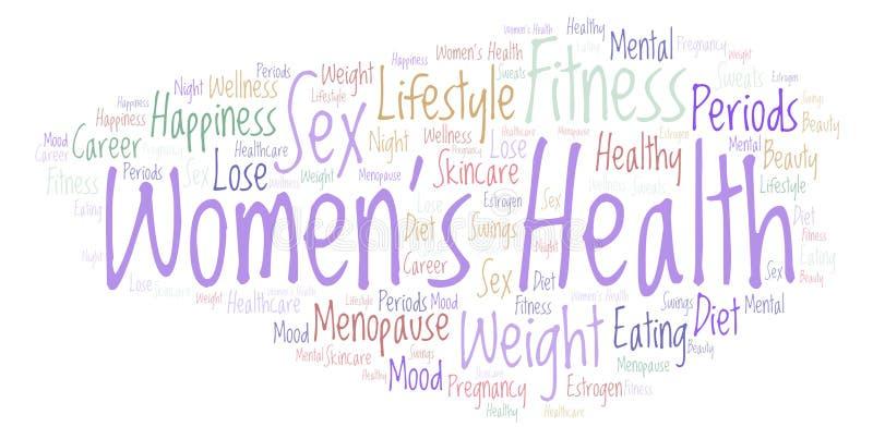 措辞与文本妇女\ '的云彩在白色背景的s健康 库存例证