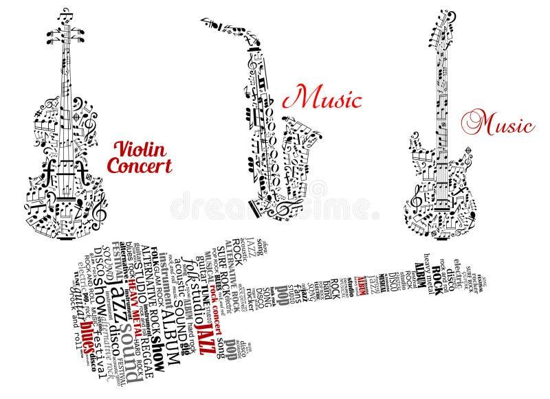 措辞云彩和笔记在吉他形状,小提琴 库存例证