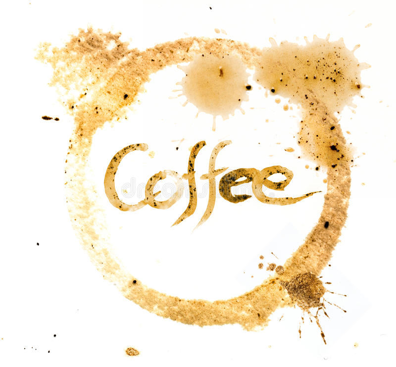 措辞咖啡写与咖啡墨水在cofee杯子圈子污点 免版税图库摄影