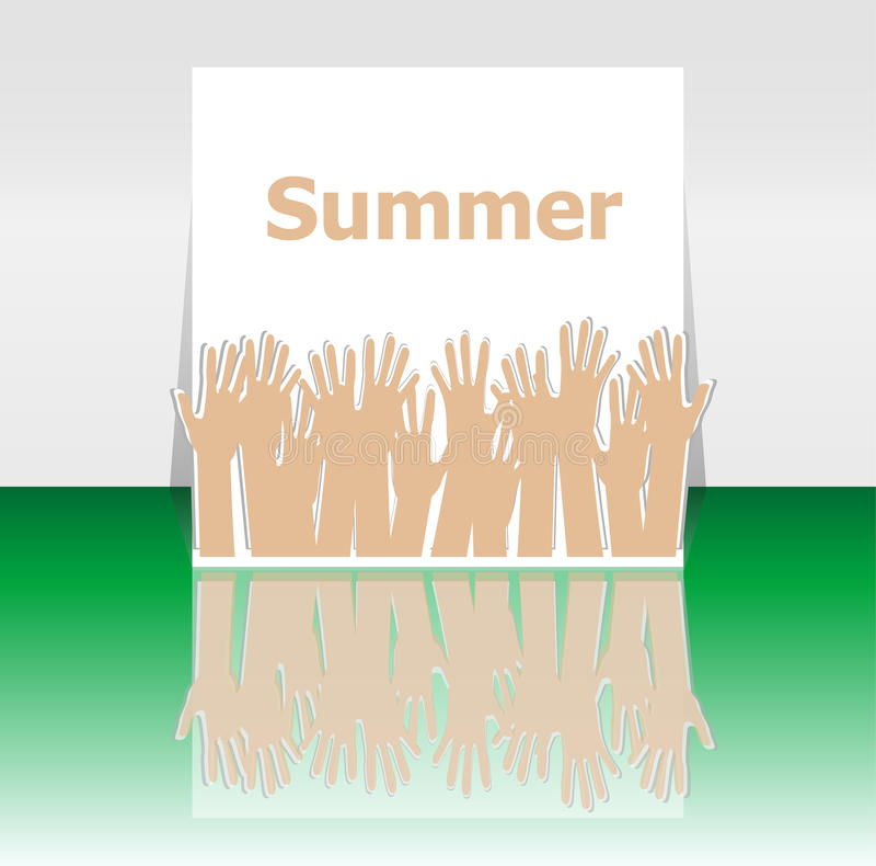 措辞夏天和人手,假日概念,象设计 向量例证
