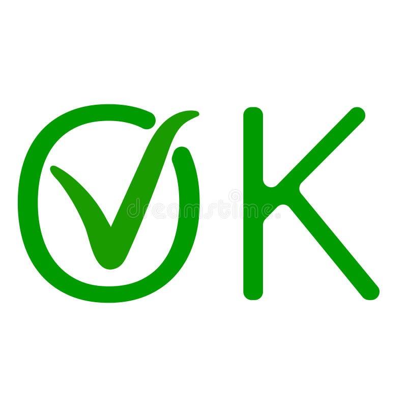 措辞好与认同,批准的标志传染媒介象绿色壁虱ok一个绿色检查号  向量例证